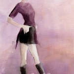 Fashion Illustration in Plum and Black