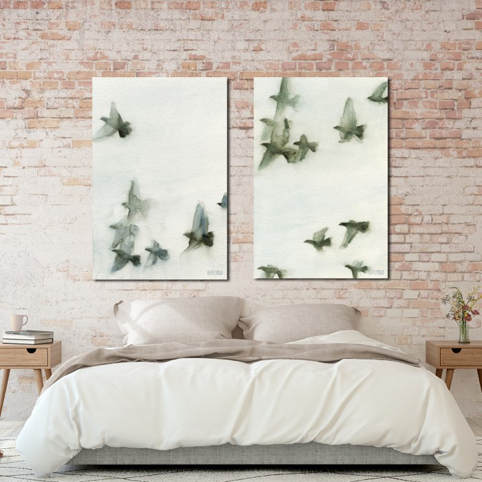 Paintings Of Flying Birds Wall Art Set In Gray Amp Blue