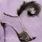 Black Evening Shoe with Feather
