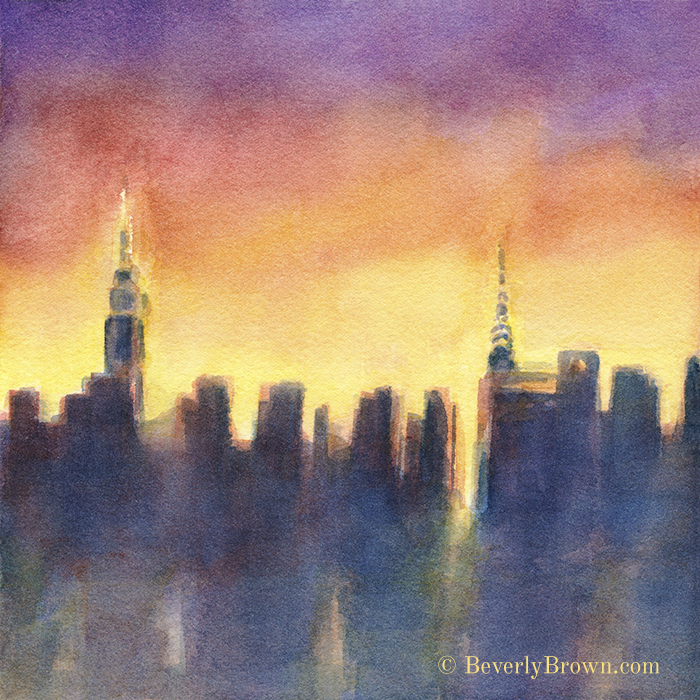 Colorful New York Skyline at Night Watercolor Wall Art Print. From a series of new paintings by Beverly Brown | Framed and canvas wall art for sale at www.beverlybrown.com