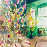 Impressionist Watercolor Interior with Cherry Blossoms
