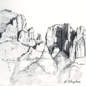 "Day 10. ""Cathedral Rock"" by Beverly Shipko, Pencil on bristol board, 6 x 6 inches."