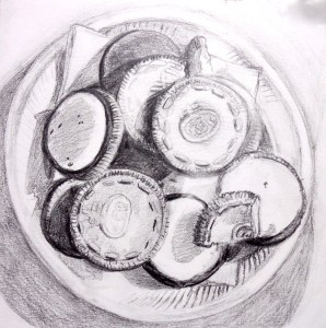"Day 21. ""Graham's Plate of Oreo Cookies"" by Beverly Shipko, Unfinished pencil drawing on bristol board, 6 x 6 inches."