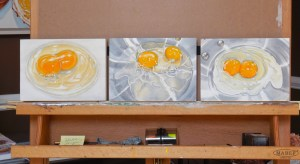Egg Series from the 30/30 Challenge, Oil paintings on cradled panel, 5 x 7 inches.