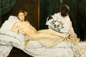 """Edouard Manet, """"Olympia"""", 1863, Oil on canvas, H. 130; W. 190 cm, Courtesy of the Musée d'Orsay, Paris"""