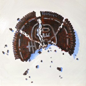"""Marli's Oreo Cookie in 4 Pieces"" by Beverly Shipko, Oil on wood cradled panel, 6 x 6 inches"