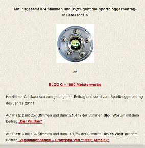 Sportbloggerbeitrag 2011: Blog-G 1000 Meisterwerke