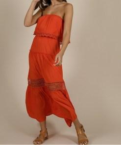 Robe rouge longue épaules nues marque Molly Bracken.