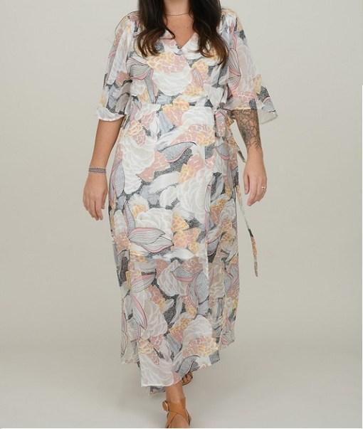 Robe longue voile motif lotus. Molly Bracken.