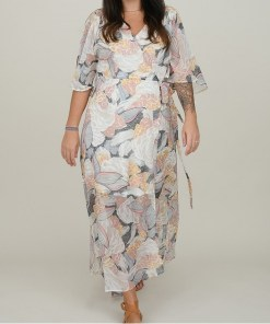 Robe longue voile motif lotus. Molly Bracken.