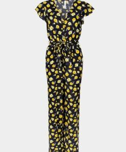 Combinaison fluide noire avec fleurs jaunes. Sans manches. Pantalon large. Marque Tiffosi.