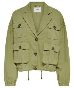 Veste cargo en coton coupe large couleur kaki de la marque Only.