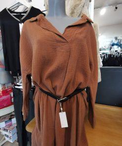 Robe tunique mi-longue marron