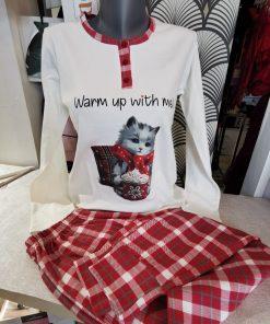 pyjama blanc motif chat
