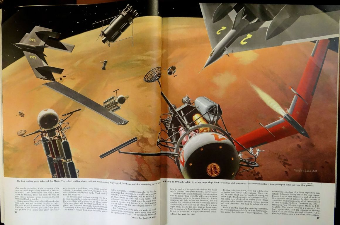 Collier's (April 30, 1954). Pages 26-27. Illustration by Chesley Bonestell