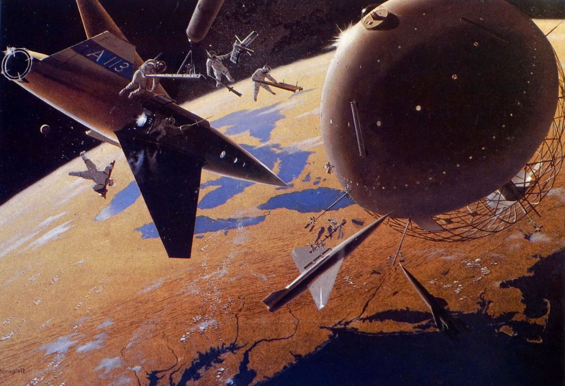 Construction of a manned space station. Art by Chesley Bonestell (1949)