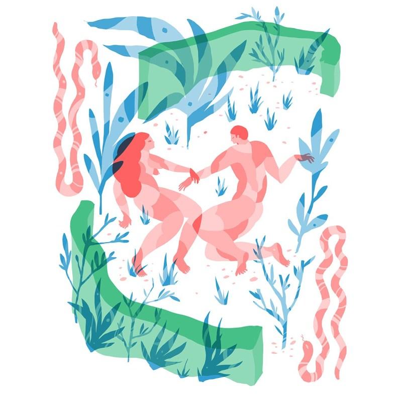 Illustration d'un couple paisible couchés dans une clairière