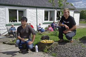 Xavi and Reuben, our two Spanish wwoofers, who cooked a paella over an open fire.