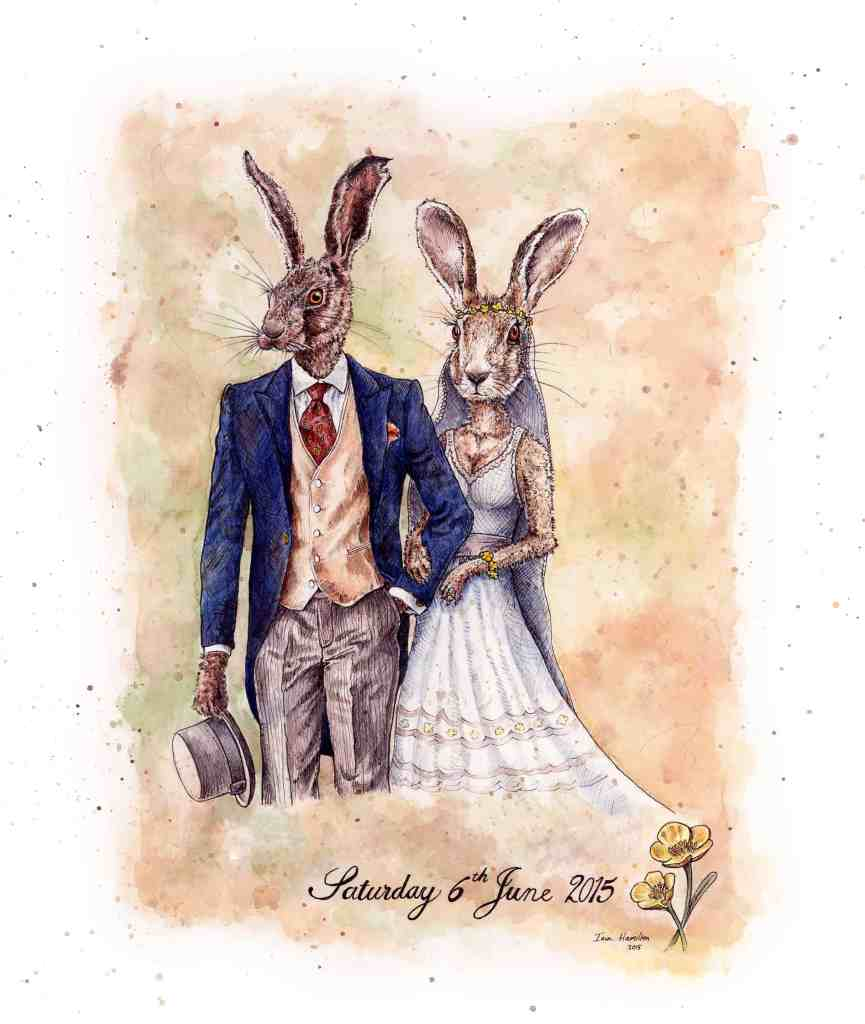 Original painting of two hares dressed as a bride and groom in a suit and white wedding dress on a textured background