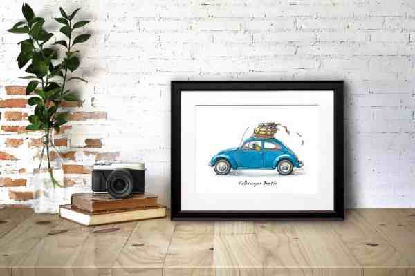 Print of a colourful beetle driving a classic blue VW Beetle car in a black frame on a desk leaning against a brick wall