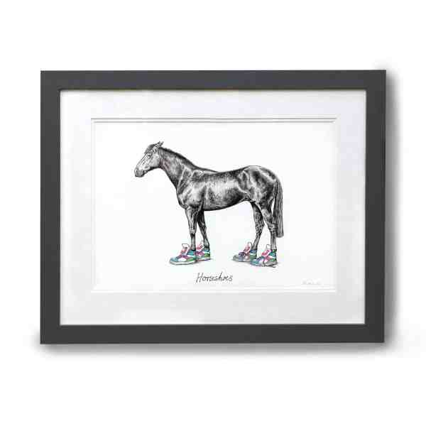 Original pen and ink illustration of a horse wearing bright coloured trainers in a grey frame on a white wall
