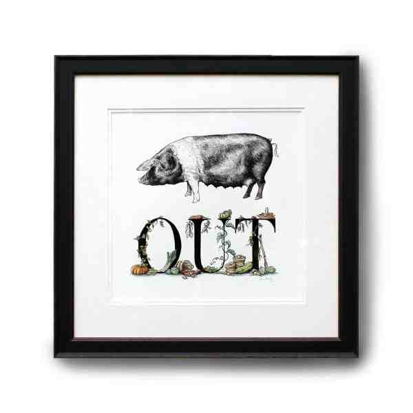 Original pen & ink illustration of a saddleback pig and lettering decorated with vegetables in a black frame on a white wall