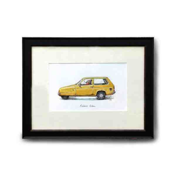Original illustration of a robin wearing a woolly hat driving a yellow reliant robin car in a black frame on a white wall