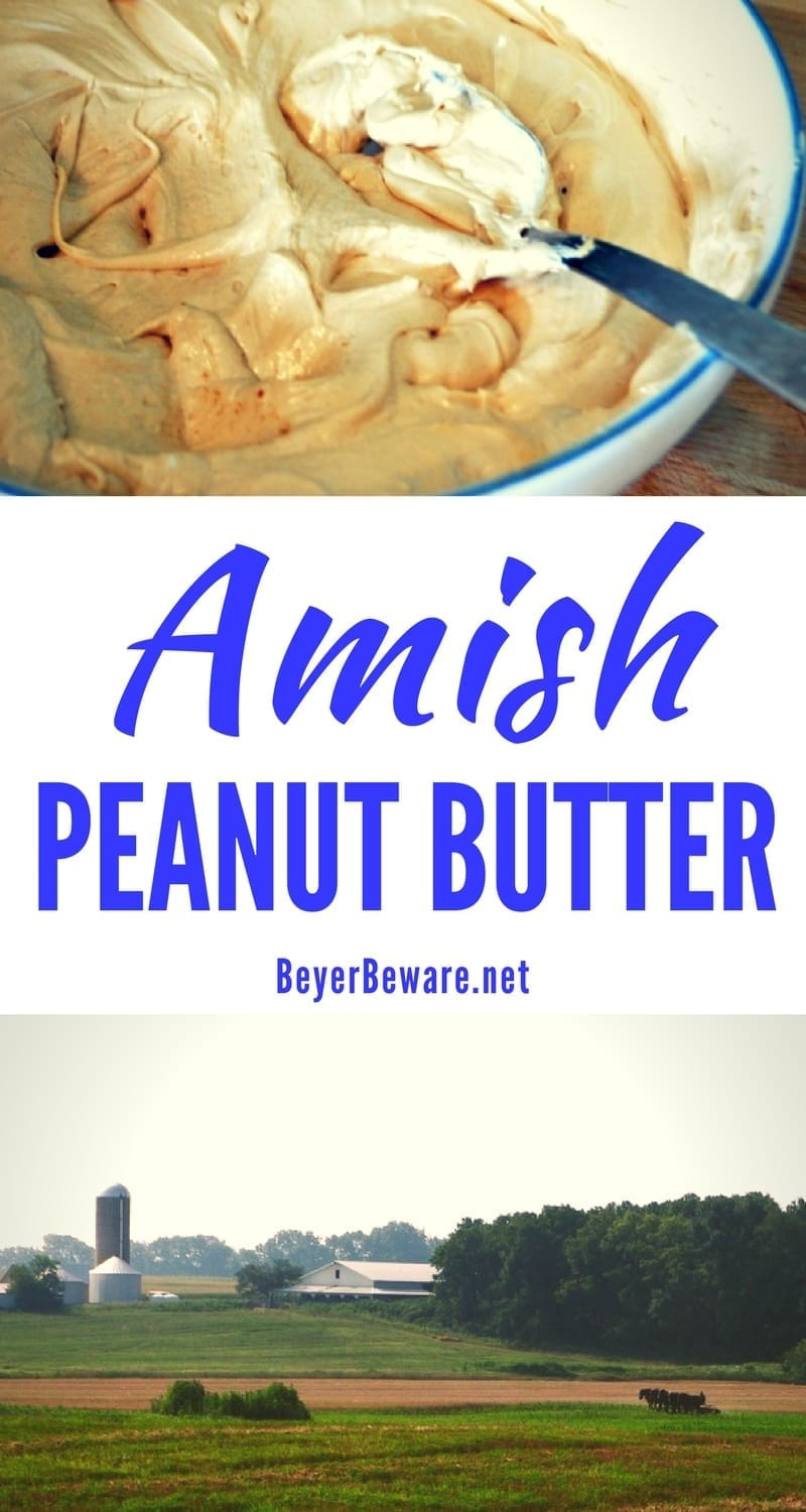 Amish peanut butter recipe is the sweet combination of marshmallow fluff, peanut butter, honey and a totally random secret ingredient.