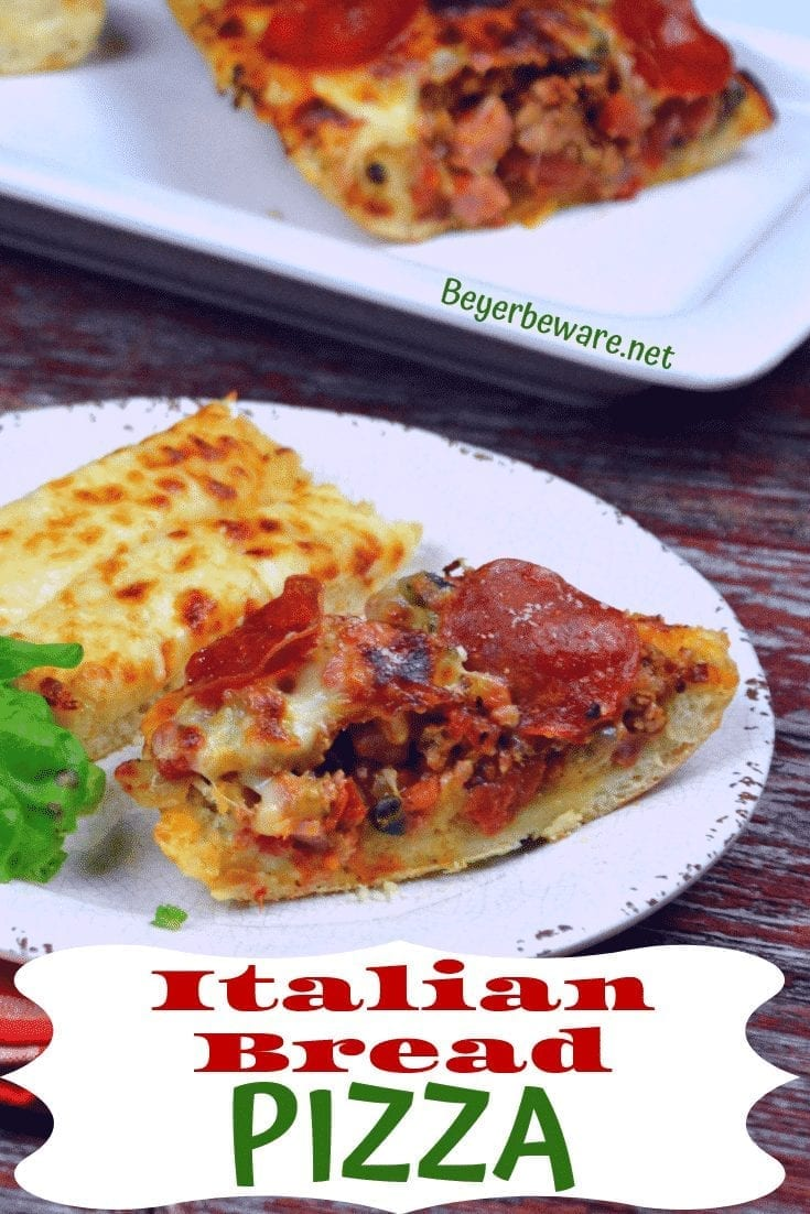 Italian Bread Pizza takes a big loaf of Italian bread as the perfect crust for cheesy pizza loaf. Combine all of your favorite pizza toppings with sauce and put into a hollowed out half of the Italian bread and top with lots of cheese for a quick deep dish pizza. #Pizza #PizzaLoaf #Cheese #weeknightmeal #FingerFood #Appetizer