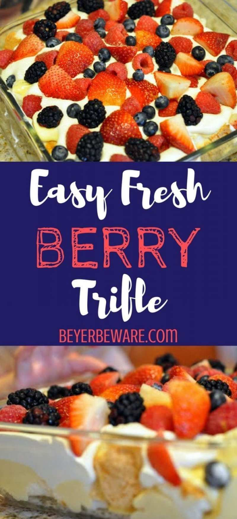 This easy fresh berry trifle recipe just combines angel food cake, vanilla pudding & Cool Whip topped with fresh berries to make a light summer dessert.