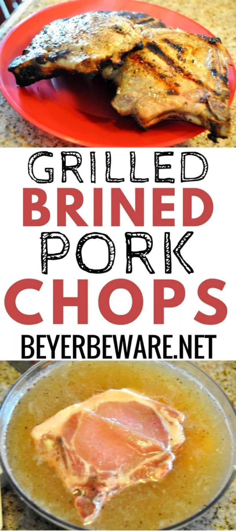 One way to make sure you have juicy grilled pork chops is to make grilled brined pork chops. OH, and cooking just to 150 degrees before letting the pork chops rest.