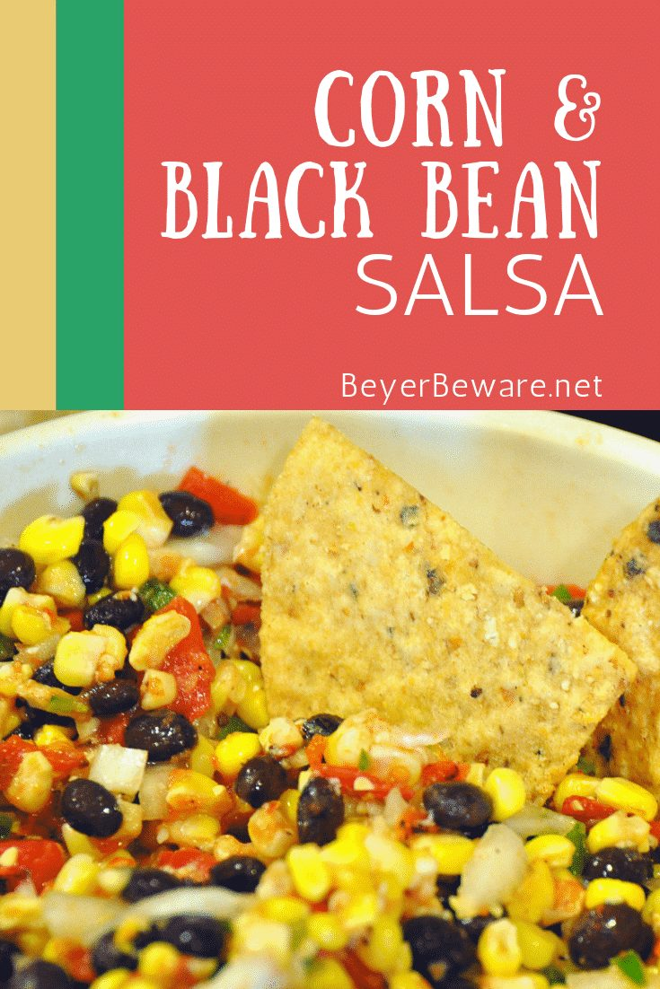 Corn and Black Bean Salsa is a simple corn salsa recipe made from canned tomatoes, fresh sweet corns, onions, jalapenos, garlic, cilantro, and seasonings. #Salsa #Corn #MexicanRecipes