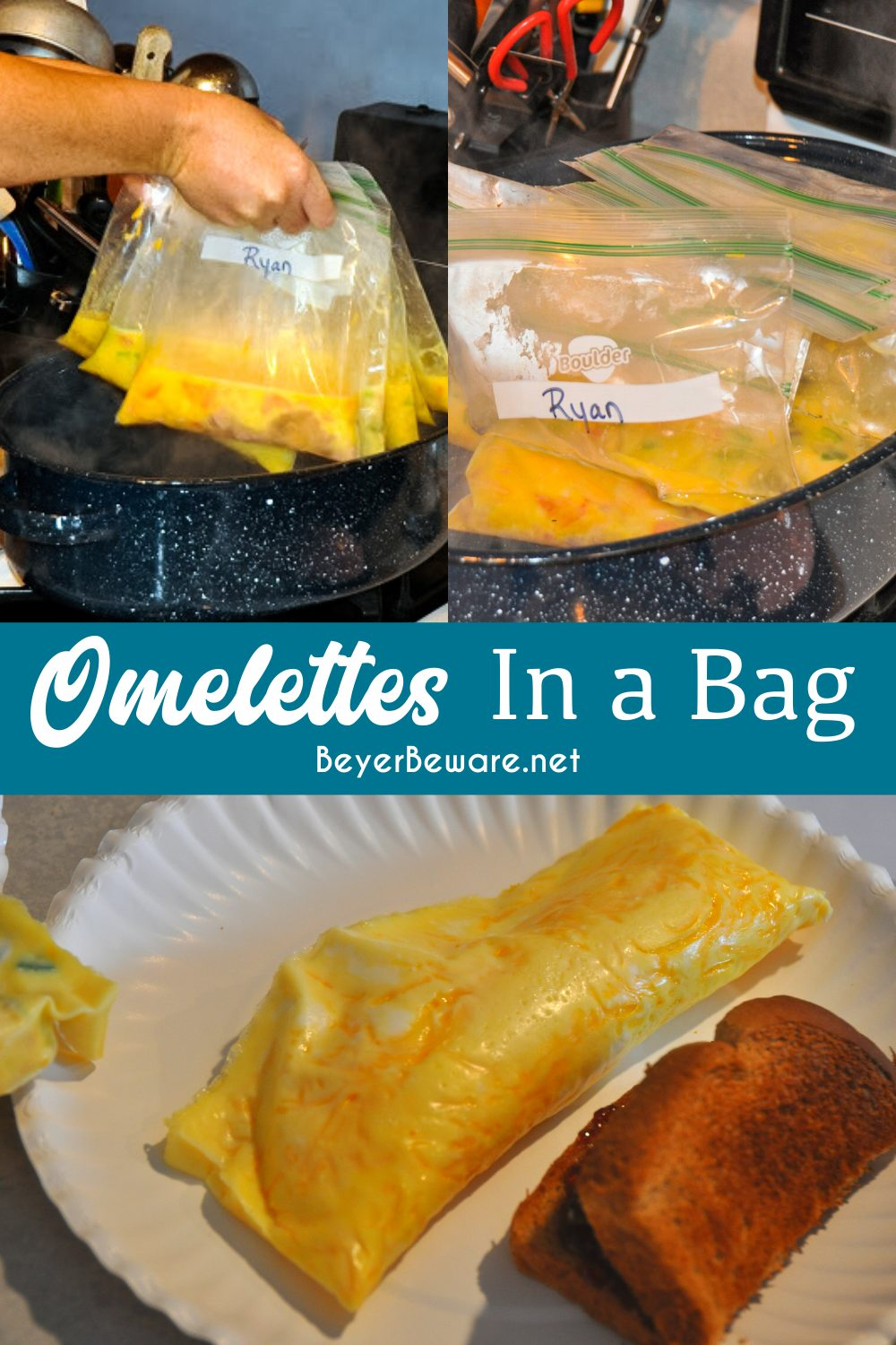 Omelettes in a bag are perfect for camping or if have a group to feed breakfast to at home to make individualized requests for eggs, quickly. #Eggs #Omelettes #Recipes #Camping #EasyRecipes