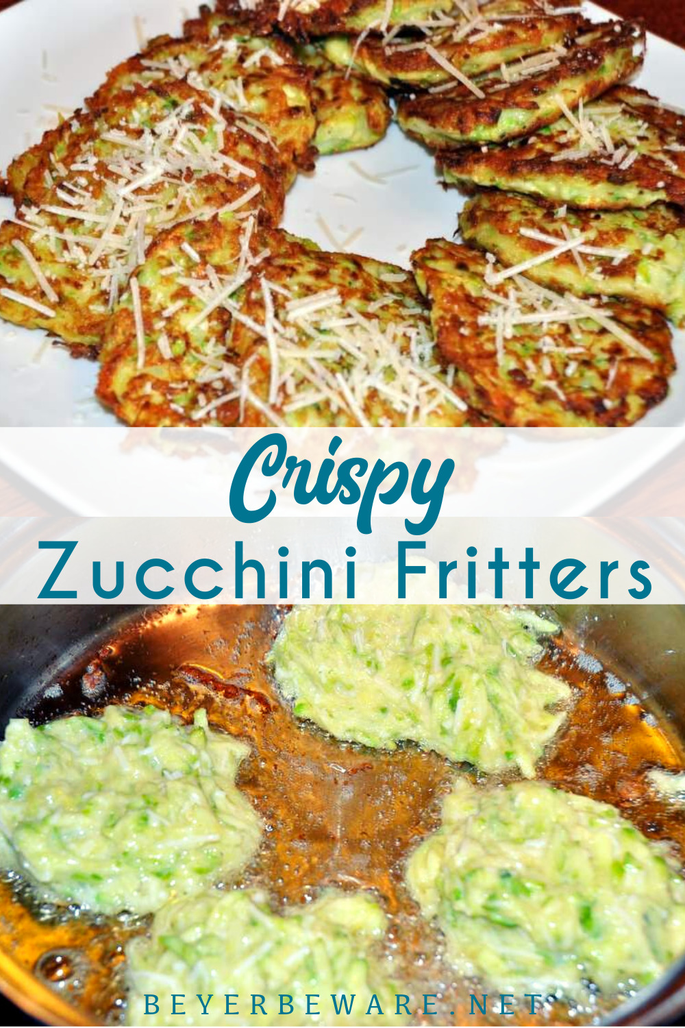 Crispy zucchini fritters are a simple recipe to use zucchini in a pan-fried fritter that even people who aren't vegetable lovers will eat. Put some ranch on the side to dip these zucchini fritters in and everyone will love this finger food.