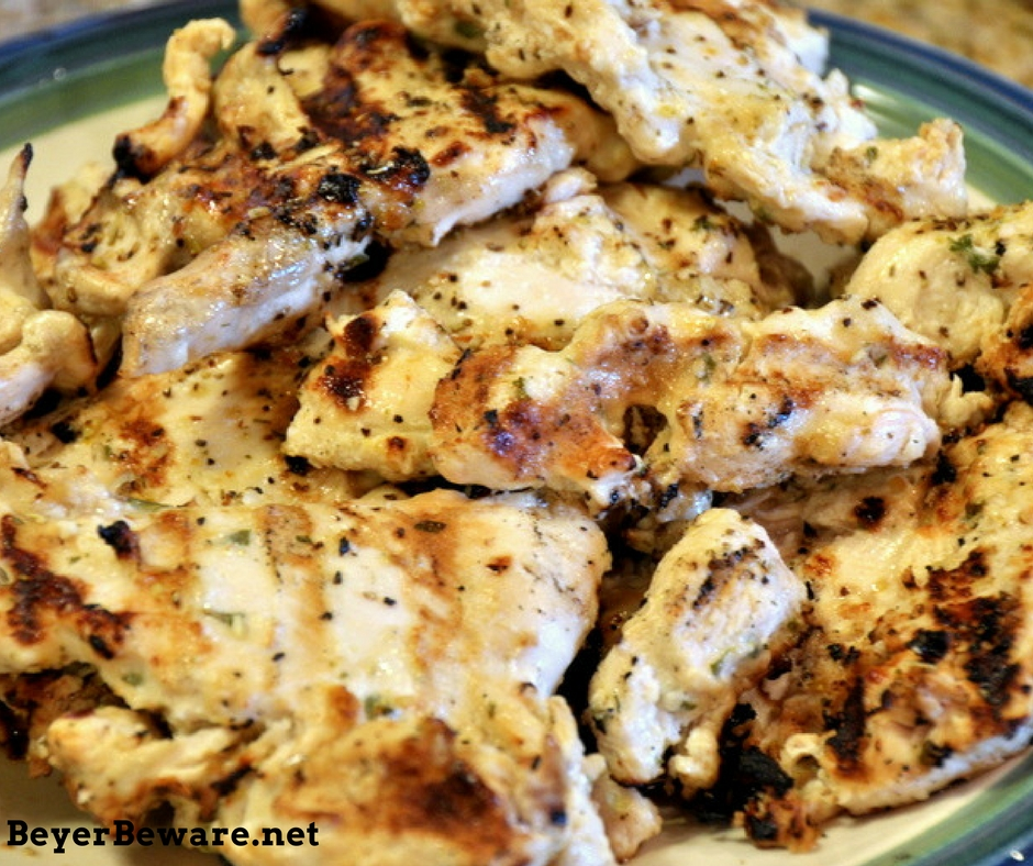 In the heat of the summer never beats the fresh flavors of lemon and basil. One of my favorite grilled chicken recipes is this garlic lemon basil chicken.