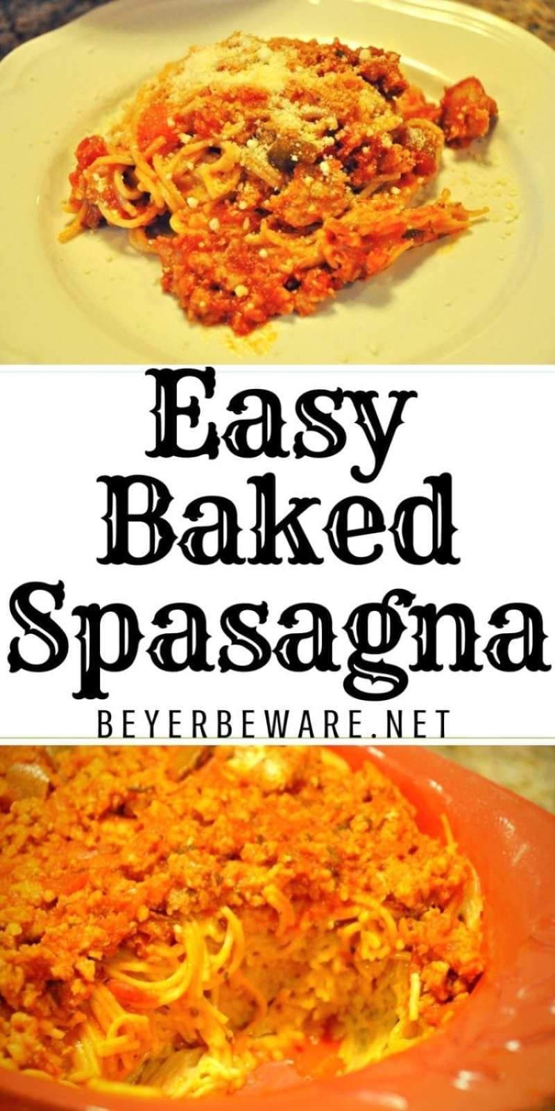 Easy Spasagna is the combination of spaghetti and lasagna forming a cheesy, baked pasta dish topped with hearty meat sauce.