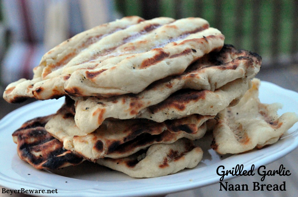 One of our favorite things in the summer is grilled garlic naan bread recipe. It is an easy to make yeast bread and cooks quickly on the grill.