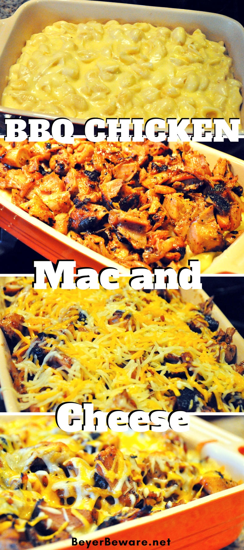 BBQ chicken mac and cheese is a great way to use leftover grilled BBQ chicken with cheesy macaroni for a quick go-to weeknight meal.