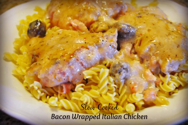 Crock Pot bacon wrapped Italian chicken is a creamy, tender crock pot chicken recipe full of rich flavors with a creamy sauce that is perfect served over pasta.