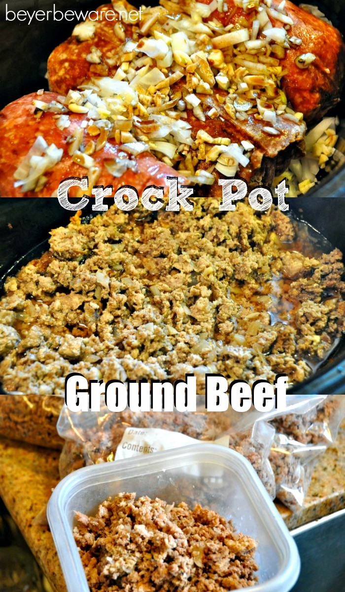 If you want quick weeknight meals learn how to prep for the week by making all your ground beef in the crock pot so it is ready to go.