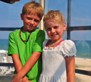 kids at the top of the lighthouse