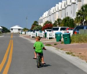Boy riding his bike on SGI