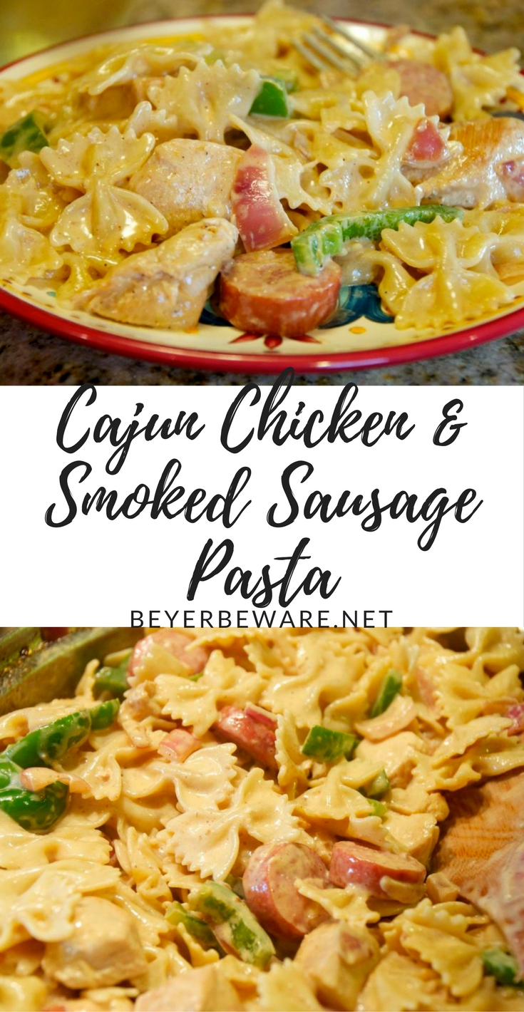This Cajun chicken and smoked sausage pasta recipe is a quick and easy weeknight meal. The bonus, you need to open a bottle of wine to make the dish!!