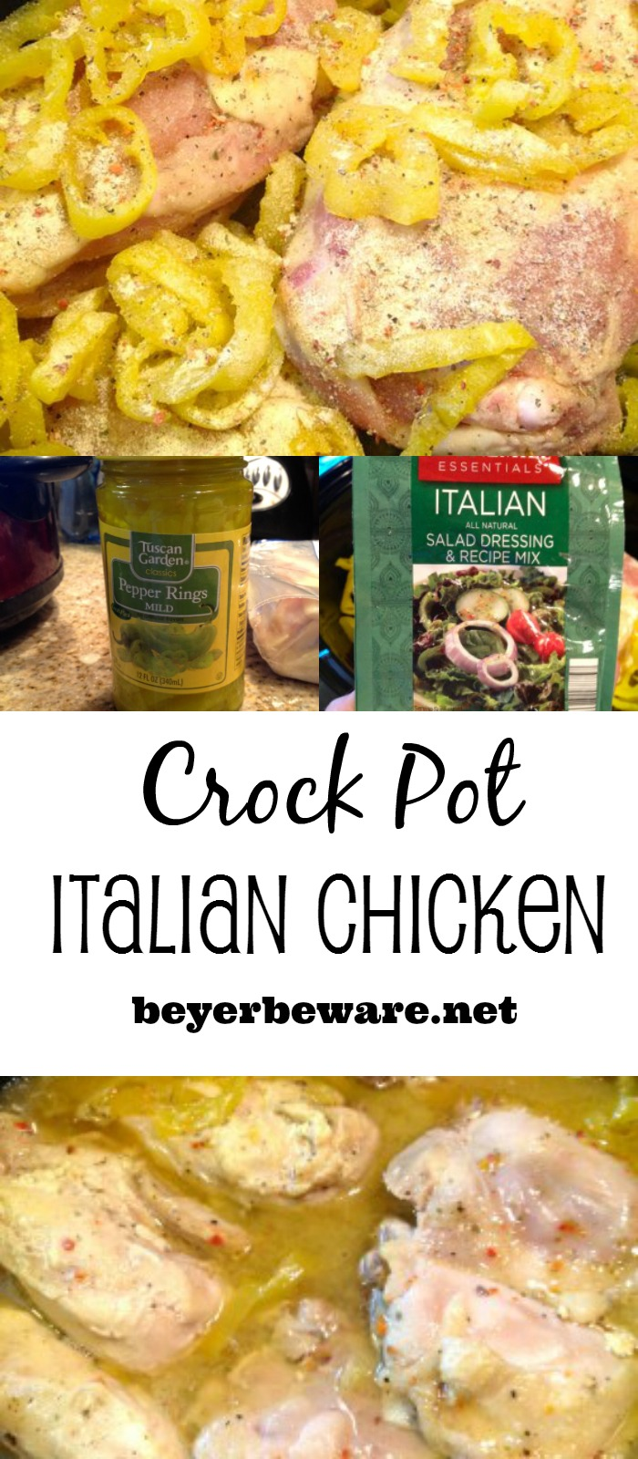 A simple crock pot Italian chicken recipe with three ingredients that is full of flavor and cooks all day in the crock pot.