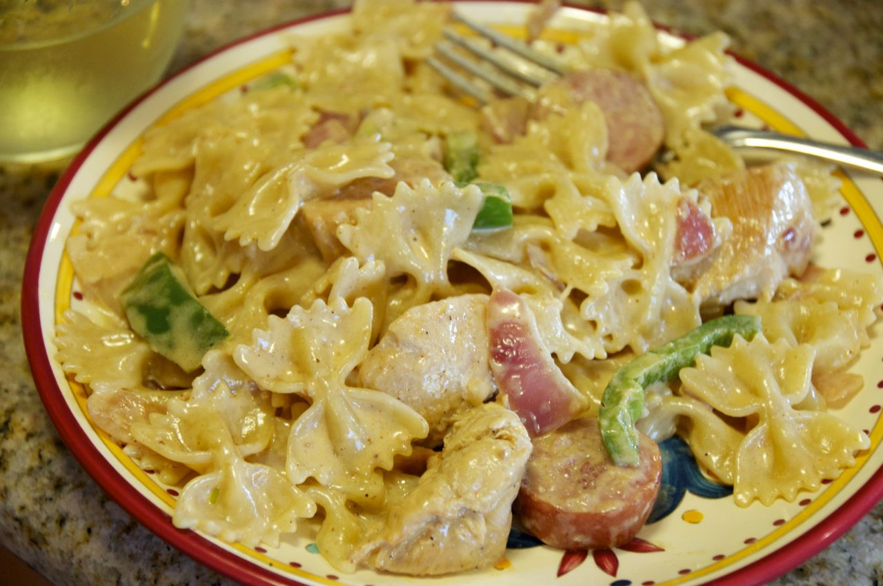 Cajun chicken and smoked sausage pasta