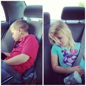 sleeping kids in the car