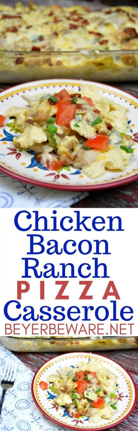 If you love white chicken pizza like the bacon chicken ranch pizza, you will love this chicken bacon ranch pizza casserole that creates this creamy chicken and pasta casserole.