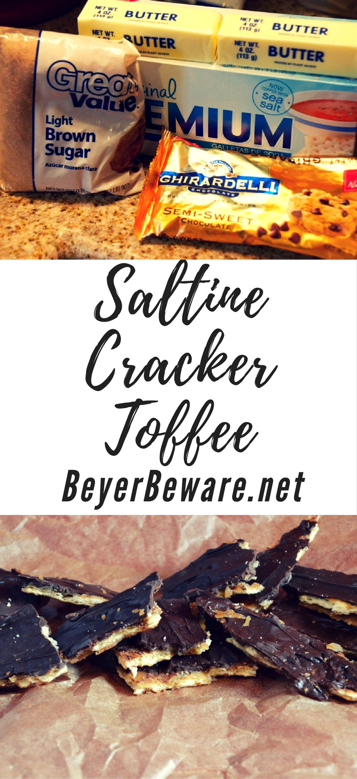 Saltine cracker toffee is a four-ingredient candy recipe that is easy to make with saltine crackers, butter, brown sugar, and chocolate chips and baked quickly before being broken into pieces. #Toffee #ChristmasCrack #Candy #EasyRecipes #Treats #Snacks #Dessert