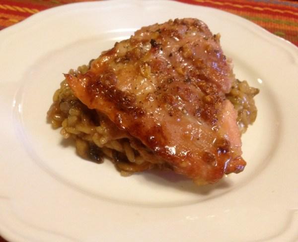 garlic brown sugar chicken over onion and mushroom risotto