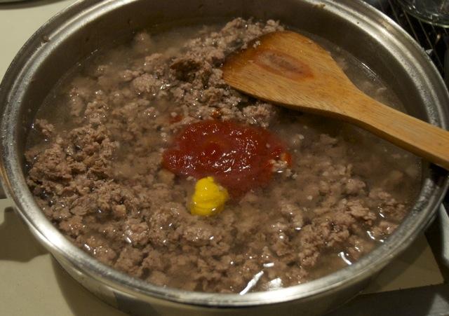 ground beef, ketchup, mustard